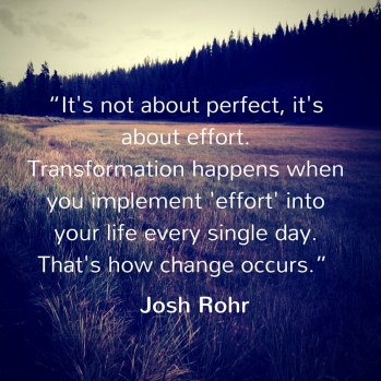 """It's not about perfect, it's about effort. Transformation happens when you implement 'effort' into your life every single day. That's how change occurs"""